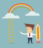 Man draw ladder to rainbow concept of success Stock Image