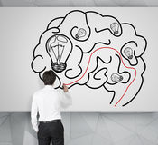Man drawing brain Stock Photography
