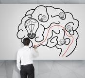 Man drawing brain Stock Photography