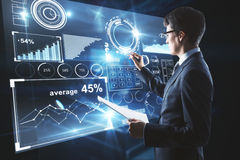 Man drawing on business display Stock Images