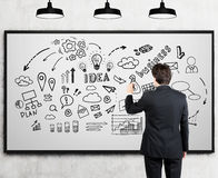 Man drawing business idea doodles on whiteboard Royalty Free Stock Image