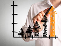Man drawing a chart show Stock Images