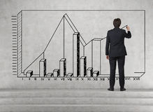 Man drawing chart on wall Stock Images