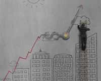 Man drawing cityscape and growing arrow with clock hands Stock Photography