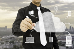 Man drawing cloud computing technology concept. royalty free stock photo