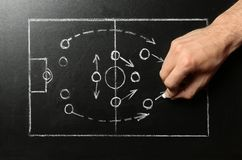 Man drawing football game scheme on chalkboard. Top view royalty free stock photo