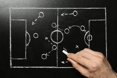 Man drawing football game scheme on chalkboard. Top view royalty free stock images