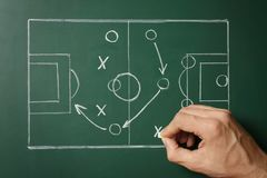 Man drawing football game scheme on chalkboard. Top view stock photos