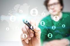 Man drawing global social network Royalty Free Stock Images