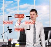 Man drawing  goods and money concept Royalty Free Stock Photos