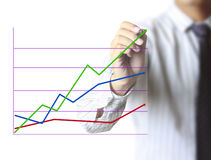 Man drawing a graph  business Royalty Free Stock Photos