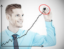 Man drawing a graph Stock Images