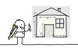 Man drawing house plan. Hand drawn cartoon characters - man drawing house plan Stock Photos