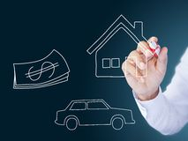 Man drawing insurance concept. Man drawing home, car and money Stock Photos