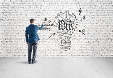 Man drawing lamp idea on gray concrete wall Royalty Free Stock Image