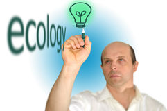 Man drawing a light bulb. On a white background Royalty Free Stock Image