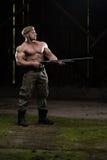 Man Drawing Machine Gun In Self Defense Royalty Free Stock Photo