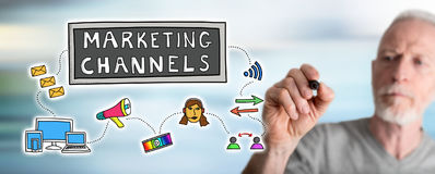 Man drawing marketing channels concept. Marketing channels concept drawn by a man royalty free stock images