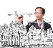 Man drawing modern building construction Royalty Free Stock Photography