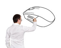Man drawing mouse Royalty Free Stock Image