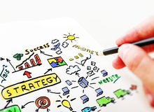 Man drawing in a notebook business Plan Royalty Free Stock Image