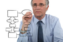 Man drawing. An organization chart Royalty Free Stock Photos
