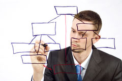 Man drawing an organization chart. On a glass board Royalty Free Stock Photo