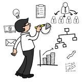 Man drawing organization chart Royalty Free Stock Images