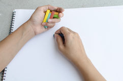 Man drawing by pastel Stock Image