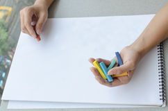 Man drawing by pastel Stock Photography
