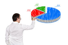 Man drawing pie chart Royalty Free Stock Photography