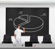 Man drawing pie chart Stock Photography
