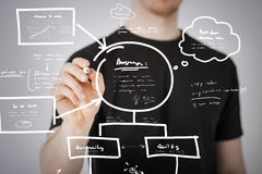 Man drawing plan on the virtual screen Stock Photo