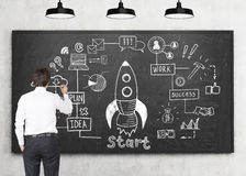 Man drawing rocket sketch. Rear view of a young businessman wearing a white shirt and drawing a rocket sketch on a blackboard in a classroom. There are three royalty free stock photography