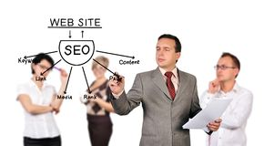 Man drawing seo scheme Stock Image