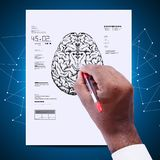 Man drawing the sketch of brain. Digital illustration of Man drawing the sketch of brain Royalty Free Stock Image