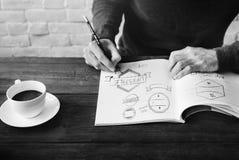 Man Drawing Sketch Design Label Artwork Concept Royalty Free Stock Photo