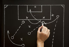 Man drawing a soccer game strategy. With white chalk on a blackboard Stock Photos