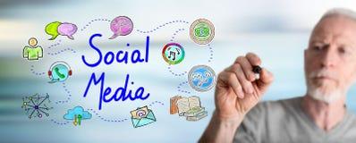 Man drawing social media concept. Social media concept drawn by a man stock photo