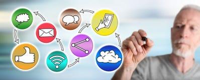 Man drawing social media concept. Social media concept drawn by a man stock image