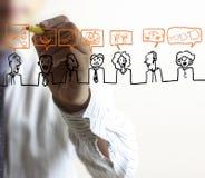 Man drawing social network Stock Images