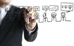 Man drawing social network Royalty Free Stock Photo