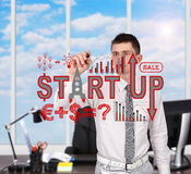 Man drawing  start up concept Stock Images