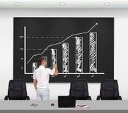 Man drawing stock chart Stock Photos