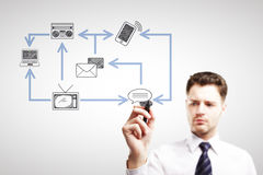 Man drawing technology network Royalty Free Stock Image