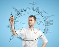 Man drawing travel Stock Images