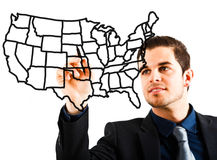 Man drawing an USA map. On the screen royalty free stock image