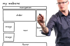 Man drawing website wireframe. On the whiteboard Royalty Free Stock Image
