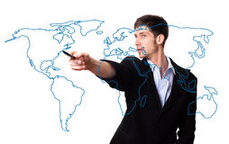 Man drawing the world map stock photo