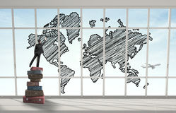 Man drawing world map Stock Image